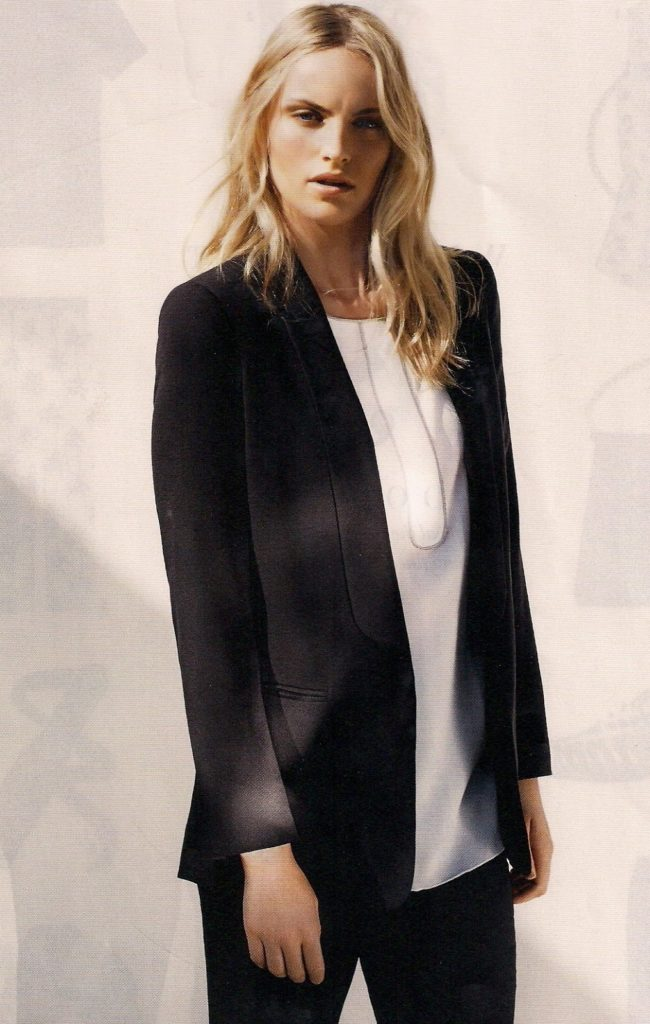 Fabiana Filippi black suit with white tunic