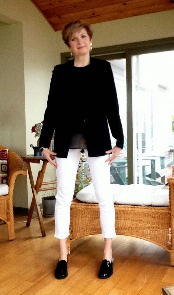 Black Helmut Lang jacket, black Rag and Bone tank, white NYDJ jeans, black Stuart Weitzman loafers