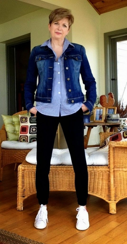 black crepe sweats, blue gingham Equipment sleeveless blouse, Paige Jean jacket, Stan Smith sneakers