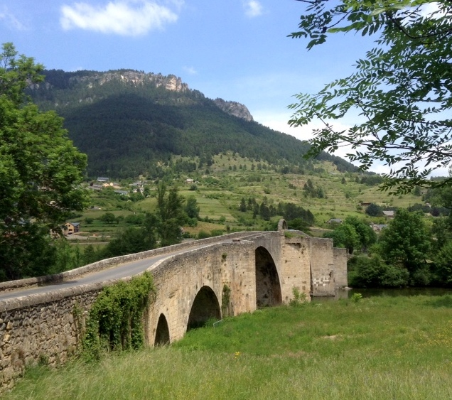 twelfth century bridge near Quezac, France