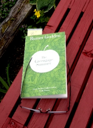 on the deck with Rumer Godden's book The Greengage Summer