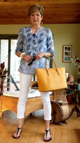 Theory cami, Tory Burch tunic, NYDJ white jeans, Michael Kors sandals and tote bag