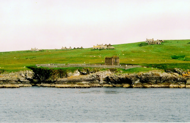 view of small islands from ferry to Kirkwall, Orkney Islands, Scotland