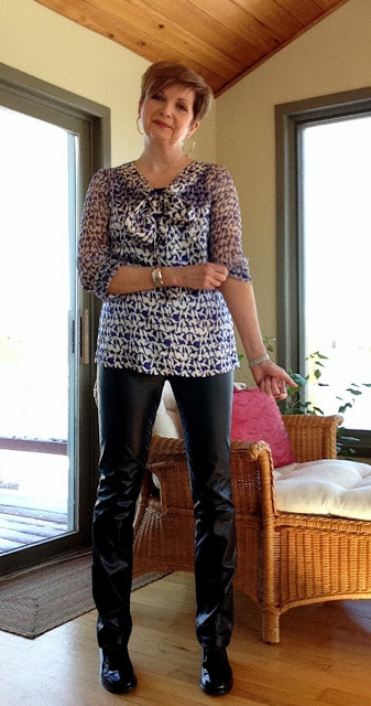 Tory Burch pussy bow blouse, Vince leather trousers