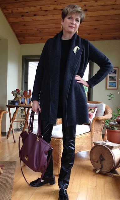 Vince coat sweater, Holt Renfrew brand leather pants,Gap tee, Stuart Weitzman loafers