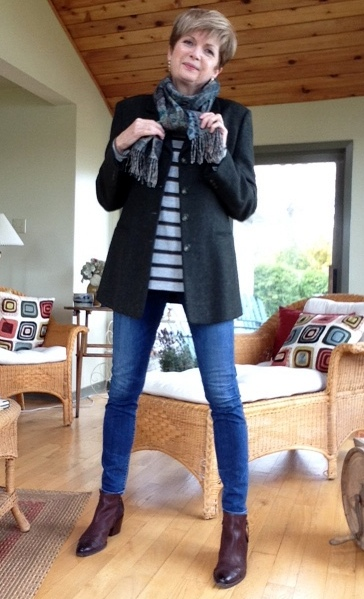 Max Mara blazer, Vince tee, Citizens of Humanity jeans, Paul Green boots