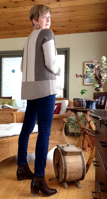 Vince sweater, with Paige jeans and Paul Green boots