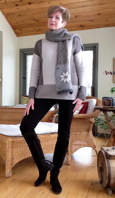 Casual and booted in my Vince sweater