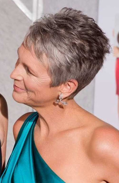 Jaime Lee Curtis, grey pixie cut.