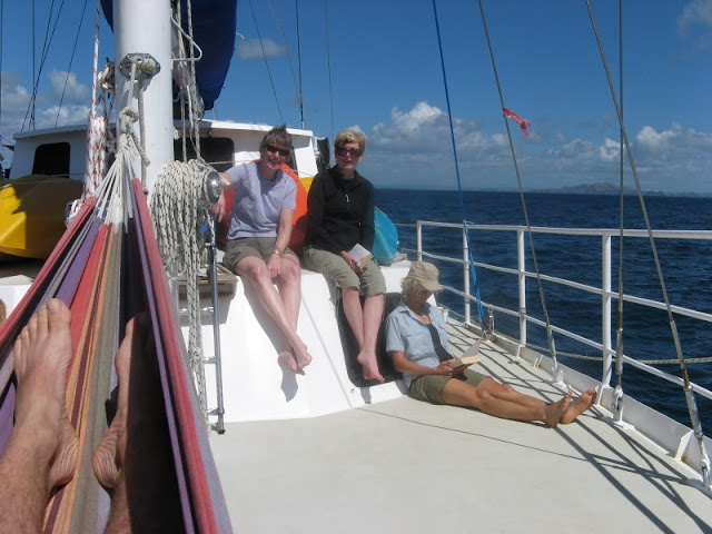 Relaxing on board the Manawanui