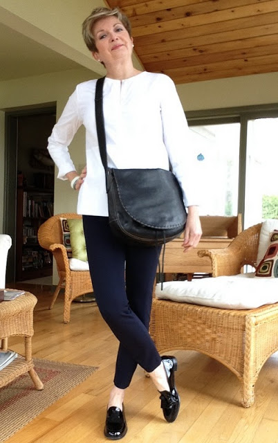 Massimo Dutti white shirt, Veronica Beard cropped pants, Stuart Weitzman loafers, bag by Holt Renfrew
