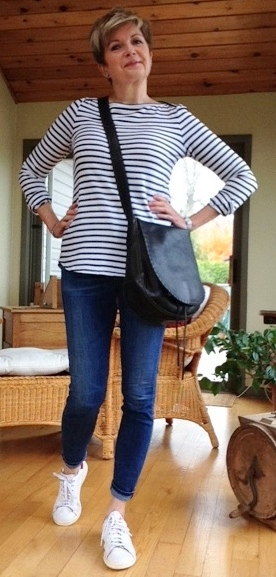 ALC striped tee, Citizens of Humanity jeans, Stan Smith Adidas, bag by Holt Renfrew