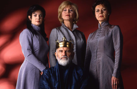 Cast of BBC film of King Lear: Ian Holm as King Lear. Victoria Hamilton, Amanda Redmond, and Barbara Flynn as Cordelia, Regan, and Goneril
