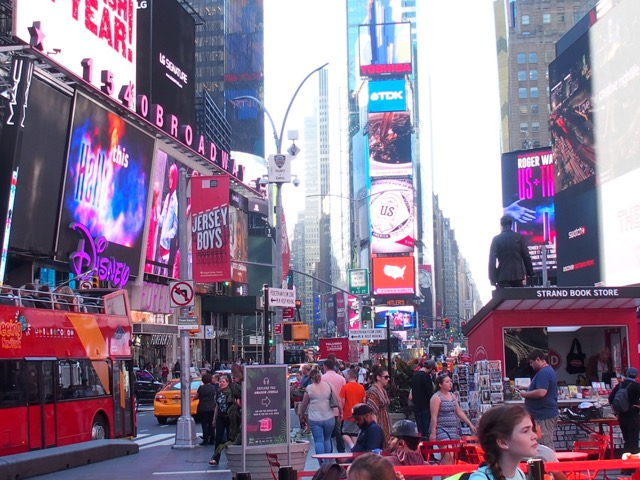Times Square during the October heat wave October 2016.
