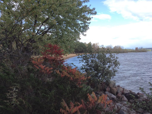 Fall camping, the beach at Bonnechere Provincial Park