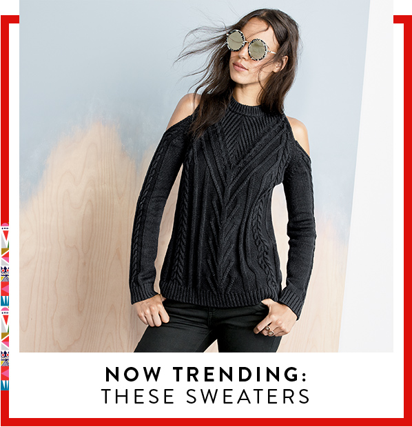 Nordstrom chunky cold shoulder sweater in charcoal.