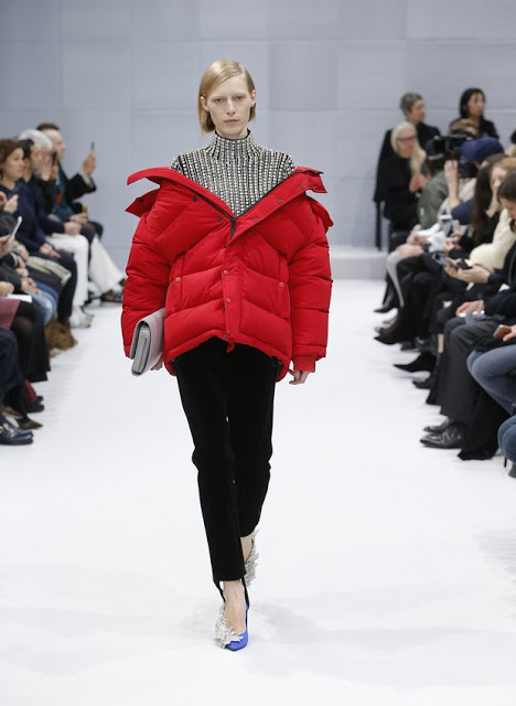 Red Balenciaga puffer coat with the off the shoulder look, winter 2016
