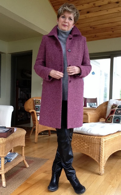 fuchsia herringbone Weekend by Max Mara coat, Cole Haan boots, Holt Renfrew leather trousers, Vince turtleneck