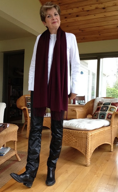 Cole Haan boots, Holt Renfrew leather trousers, Massimo Dutti white shirt, Nordstrom wool scarf