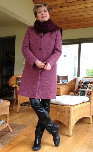 fuchsia herringbone Weekend by Max Mara coat, Cole Haan boots, Holt Renfrew leather trousers, Massimo Dutti white shirt, Nordstrom wool scar