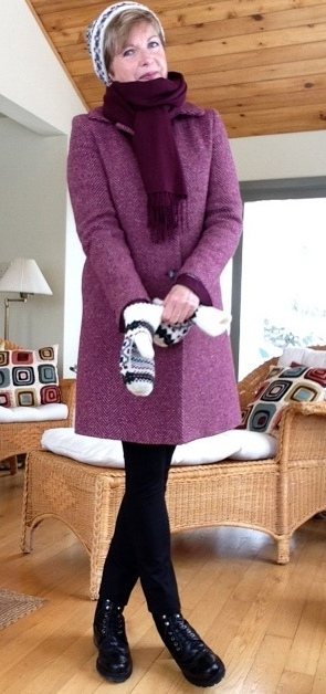 Theory shirt, Holt Renfrew cashmere sweater, Nordstrom scarf, Max Mara coat, Vince leggings, Stuart Weitzman boot
