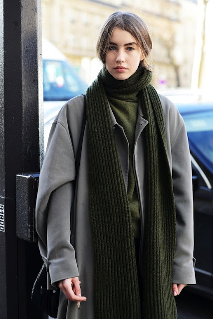 Green scarf and sweater and grey coat on Lefashion.com