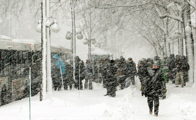 Ottawa commuters waiting for their bus during a winter storm that hit Ottawa in February 2013. CTV photo.