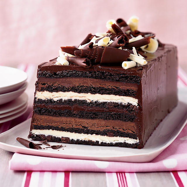 Chocolate truffle layer cake from Food and Wine.com.