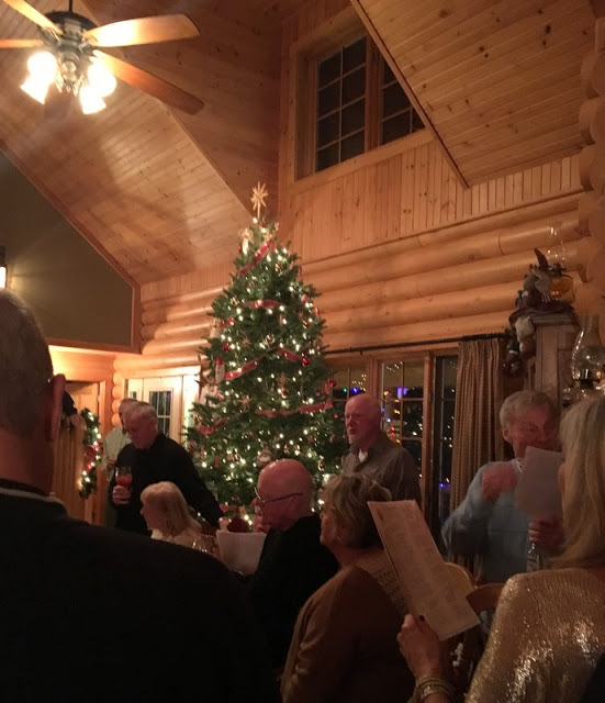Our singalong before supper at our friends' beautiful log home. Near North Gower, Ontario