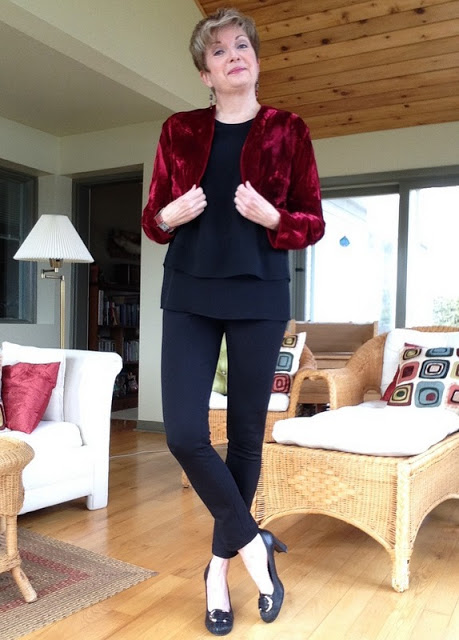 Rag and Bone tank, vintage red bolero, Vince leggings, Stuart Weitzman pumps, earrings by Holt Renfrew, Anne Marie Chagnon bracelet