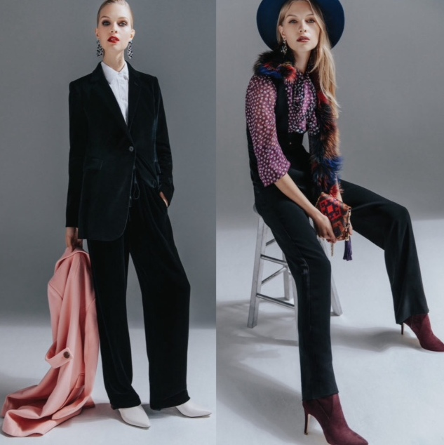 Blue velvet pants suit with white blouse and white boots. Tuxedo  trousres, burgundy print tie blouse, burgundy boots, and black vest. Both looks from Fashionmagazine.com Winter 2017 issue