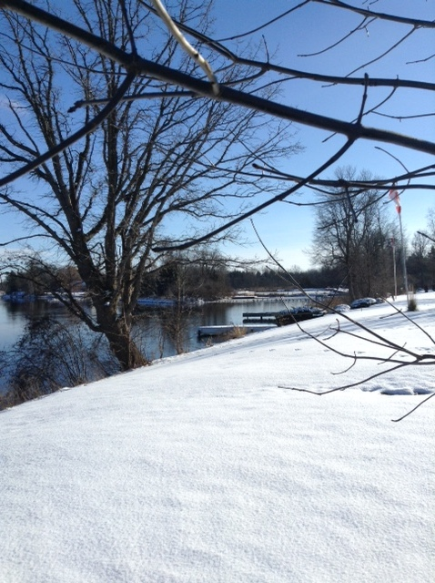 View of the Rideau River near Manotick, Ontario in winter
