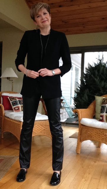 Rag and Bone tank, Helmut Lang jacket, Holt Renfrew leather trousers, Stuart Weitzman loafers