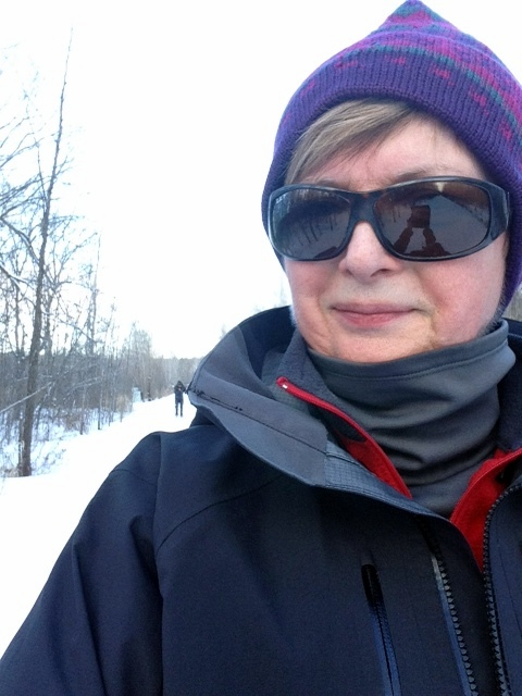 Cross country skiing on the Osgoode Trail, Osgoode Ontario. Gortex jacket, and fleece from Mountain Equipment Co-op. Turtleneck by Columbia. RayBan sunglasses.