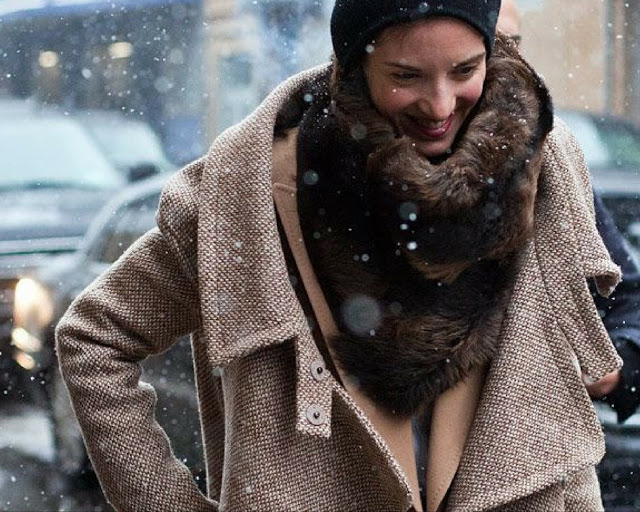 Layering for winter outfit from Elle.com