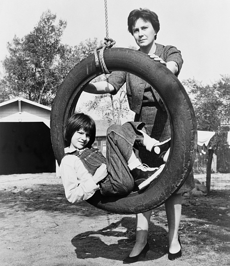 Harper Lee and Mary Badham on the set of the 1962 movie To Kill a Mockingbird