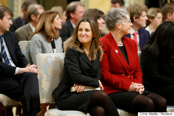 Chrystia Freeland at her swearing in as Foreign Affairs Minister at Rideau Hall
