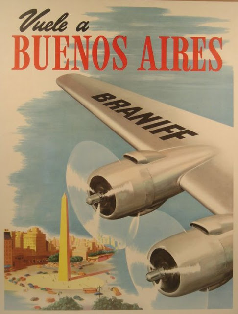 Vintage poster for Braniff airlines. Buenos Aires