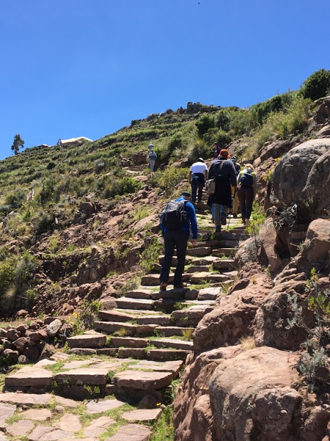 the climb up to the main village on Taquile Island, Peru