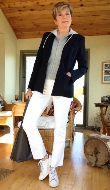 Navy Veronica Beard scuba jacket with grey hoodie, Stan Smith Adidas, All Saints tote, DIY kick flare jeans