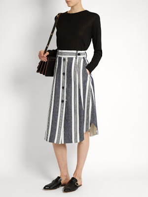 black and white striped midi skirt from Sportmax, on Matchesfashion.com