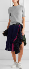 Black Sacai midi skirt, with grey sweater on Netaporter.com