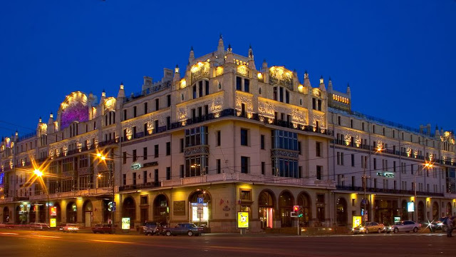 evening view of historic Metropol Hotel