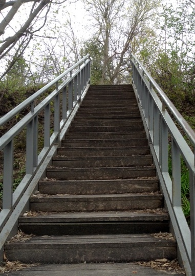 stairs leading down to the riverbank