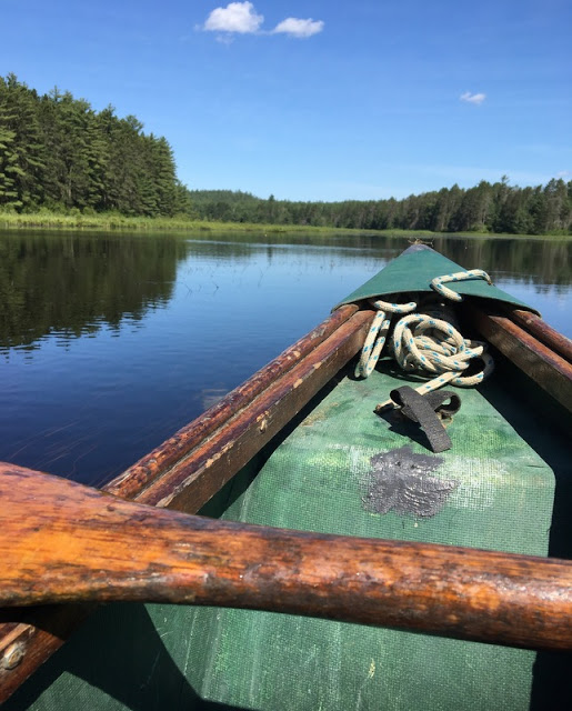 my paddle across the bow of our canoe, and a view of Bonnechere River