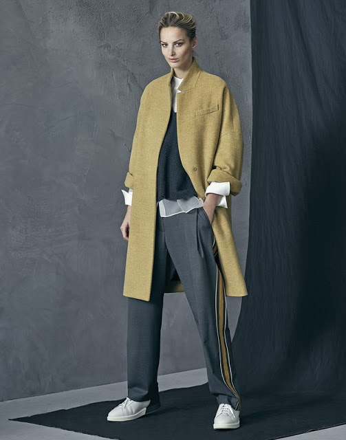 coat and track pants from Brunello Cucinelli