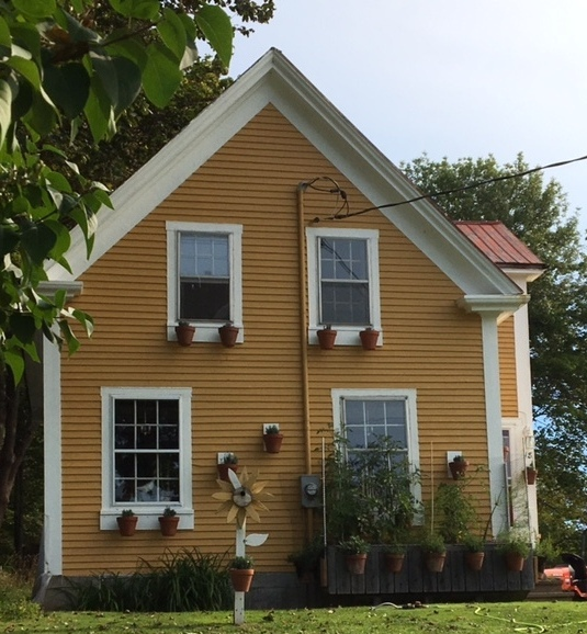 Beautiful colonial house decorated with many flower pots