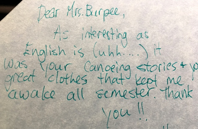note from a student in my 1999 yearbook.
