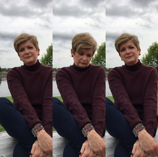 Triptych of woman in burgundy sweater, sitting on a bench