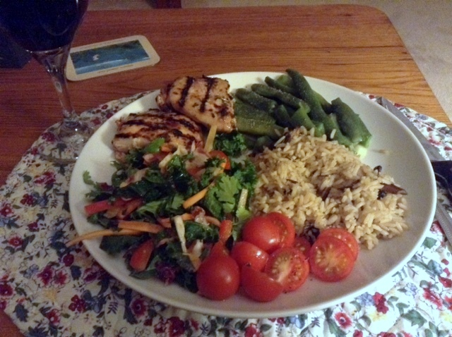 salmon, Asian kale salad, fresh asparagus, rice and tomatoes